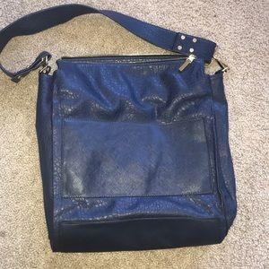 FRENCH CONNECTION large blue leather tote!!RARE